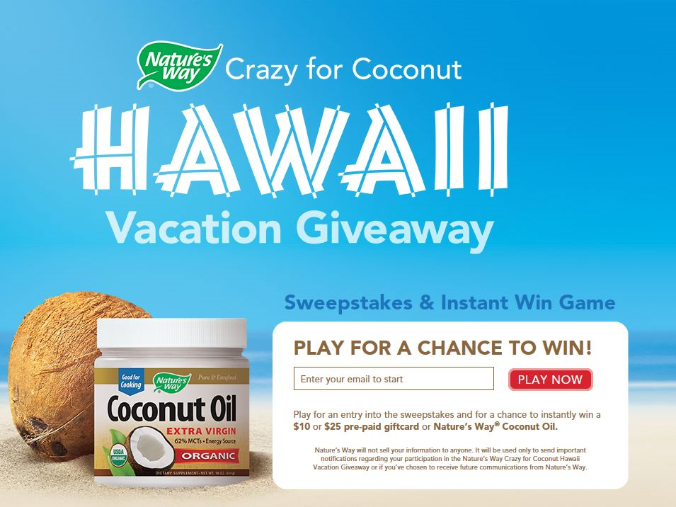 Nature's Way Crazy for Coconut Hawaii Vacation Giveaway