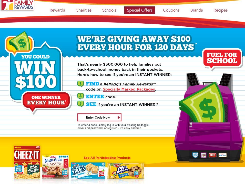 Kellogg's Snacks Back to School Instant Win Game – Code Required