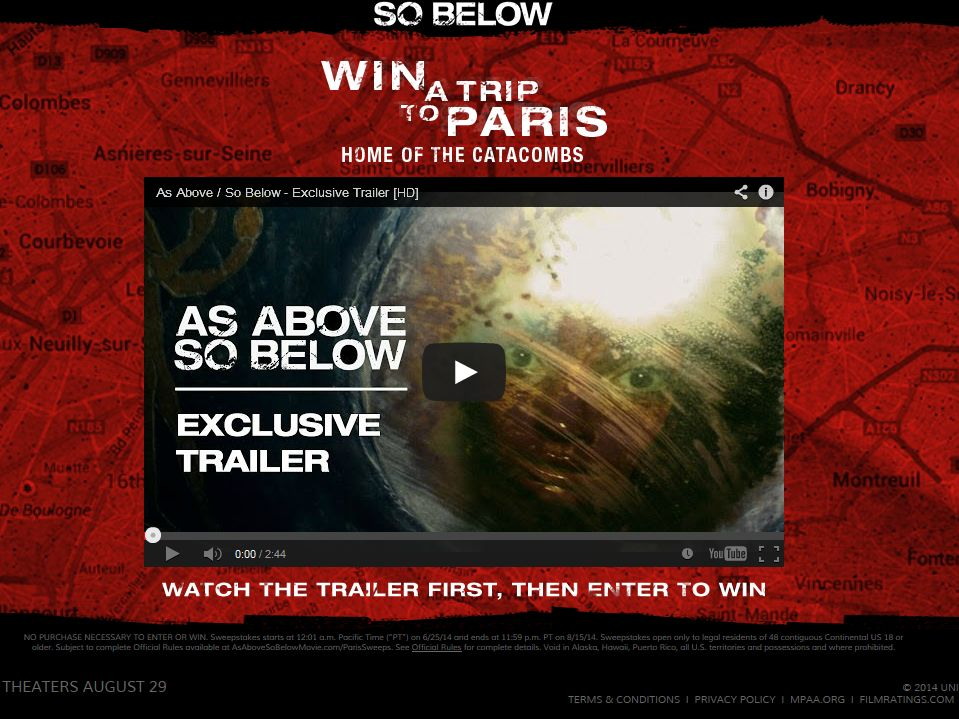 As Above/So Below Paris – Home of the Catacombs Sweepstakes