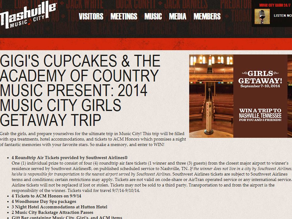 Gigi's Cupcakes & The Academy of Country Music present: 2014 Music City Girls Getaway Trip