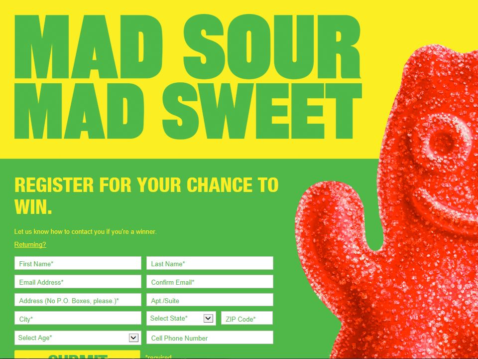 Sour Patch Kids Stride SMS Instant Win Game Sweepstakes