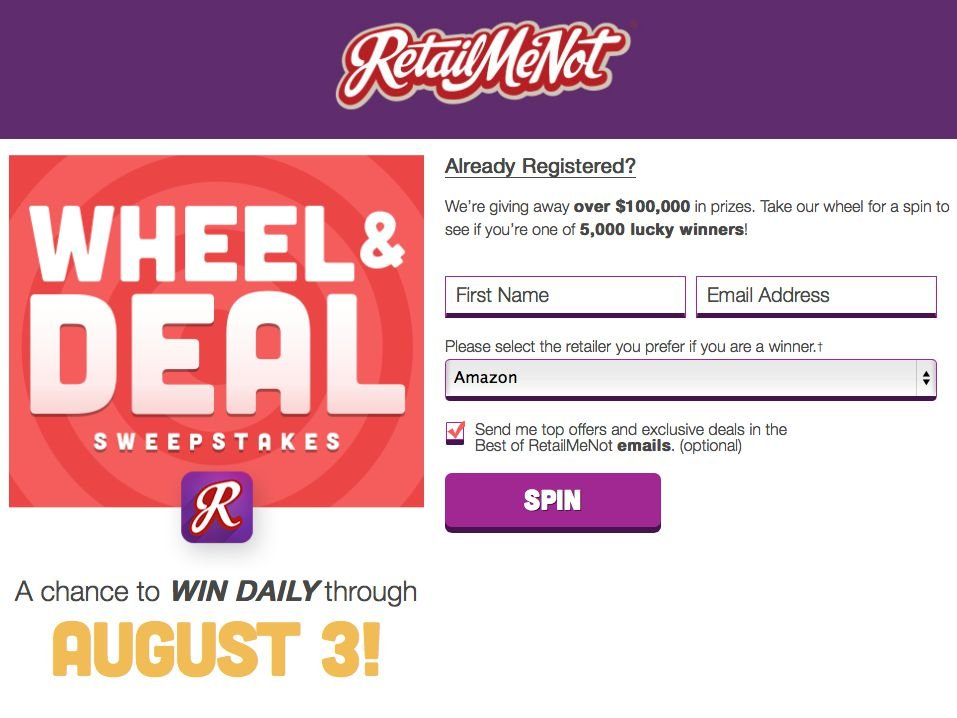 Retail Me Not Wheel and Deal Sweepstakes and Instant Win