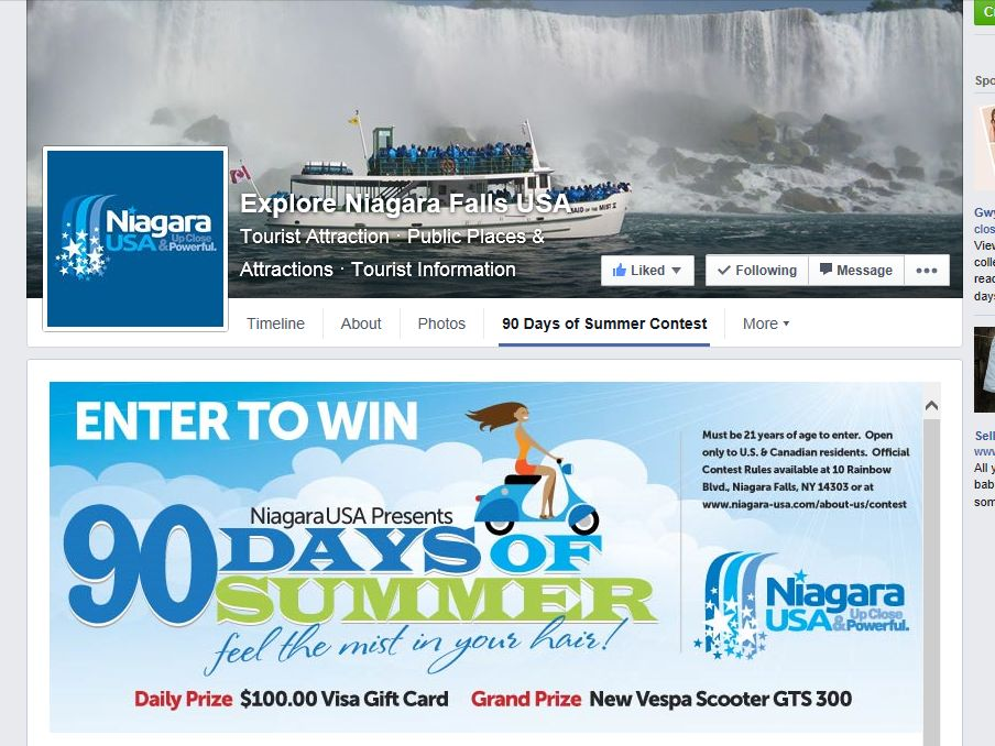 Explore Niagara Falls USA 90 Days of Summer Sweepstakes
