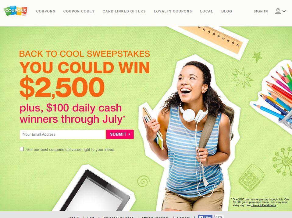 Coupons.com Back to Cool Sweepstakes