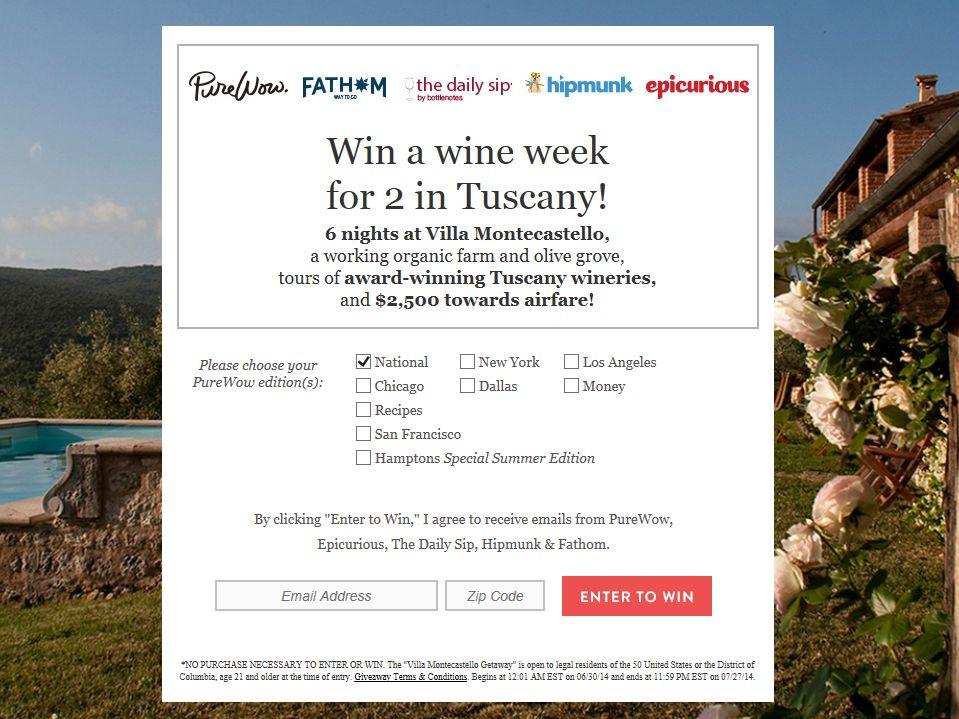 PureWow Villa Montecastello Getaway Sweepstakes
