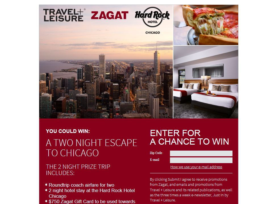 Travel & Leisure Escape to Chicago Giveaway Sweepstakes