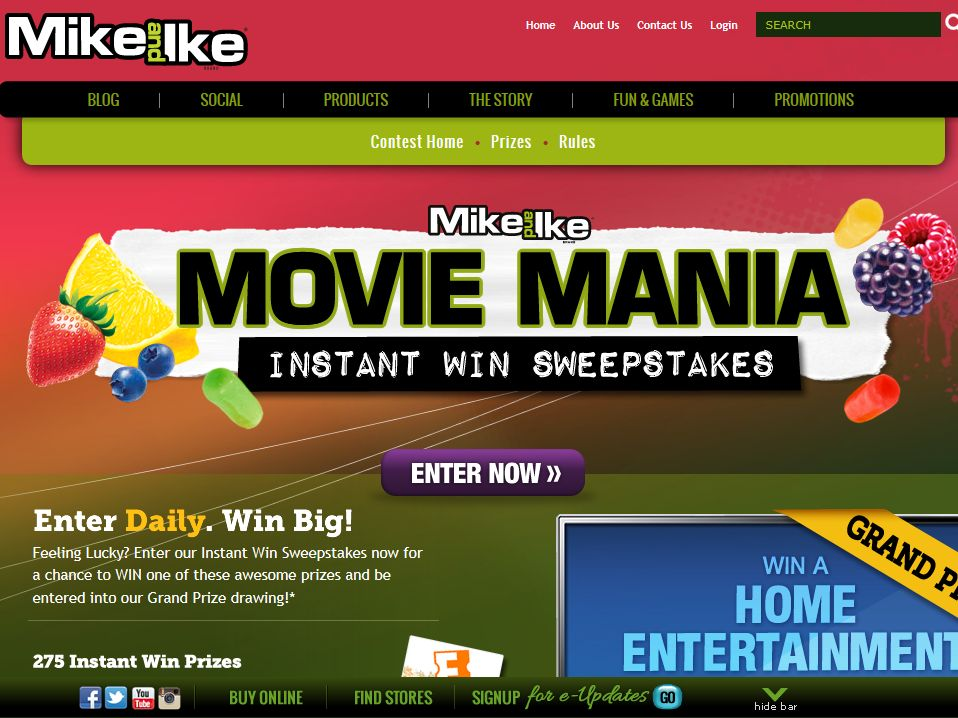 MIKE AND IKE Movie Mania Sweepstakes
