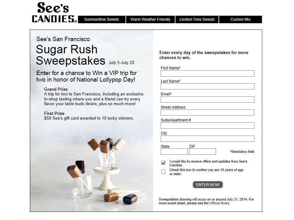 See's San Francisco Sugar Rush Sweepstakes