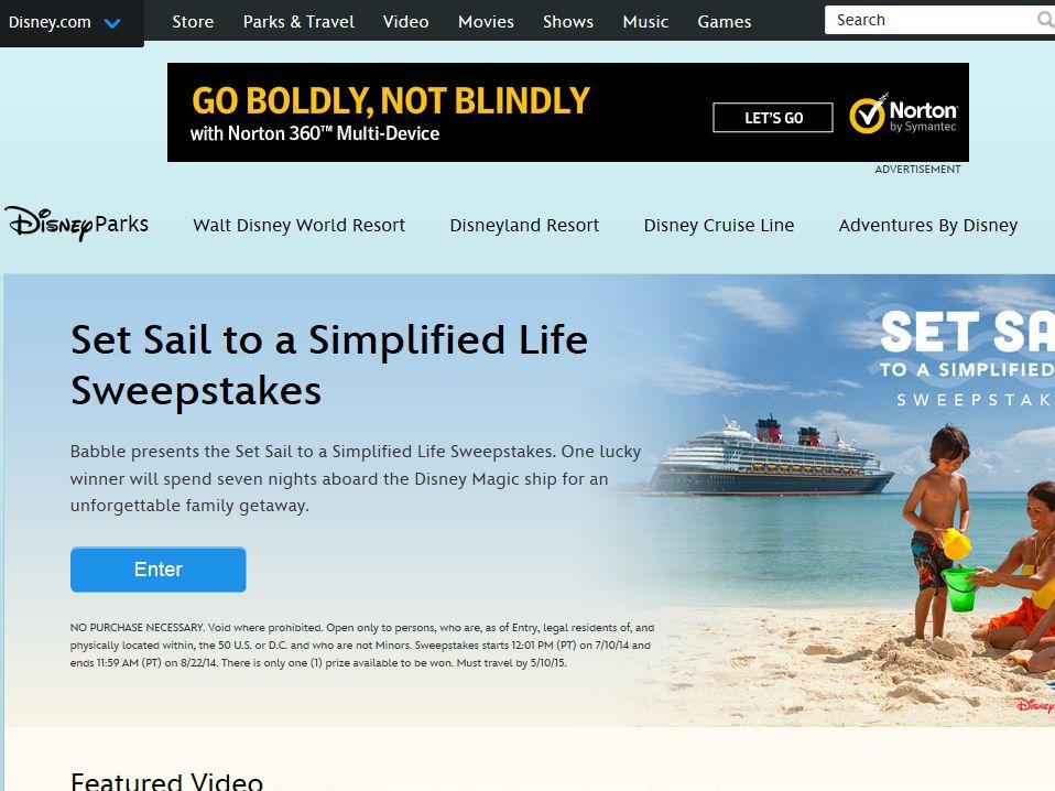 Disney Set Sail to a Simplified Life Sweepstakes