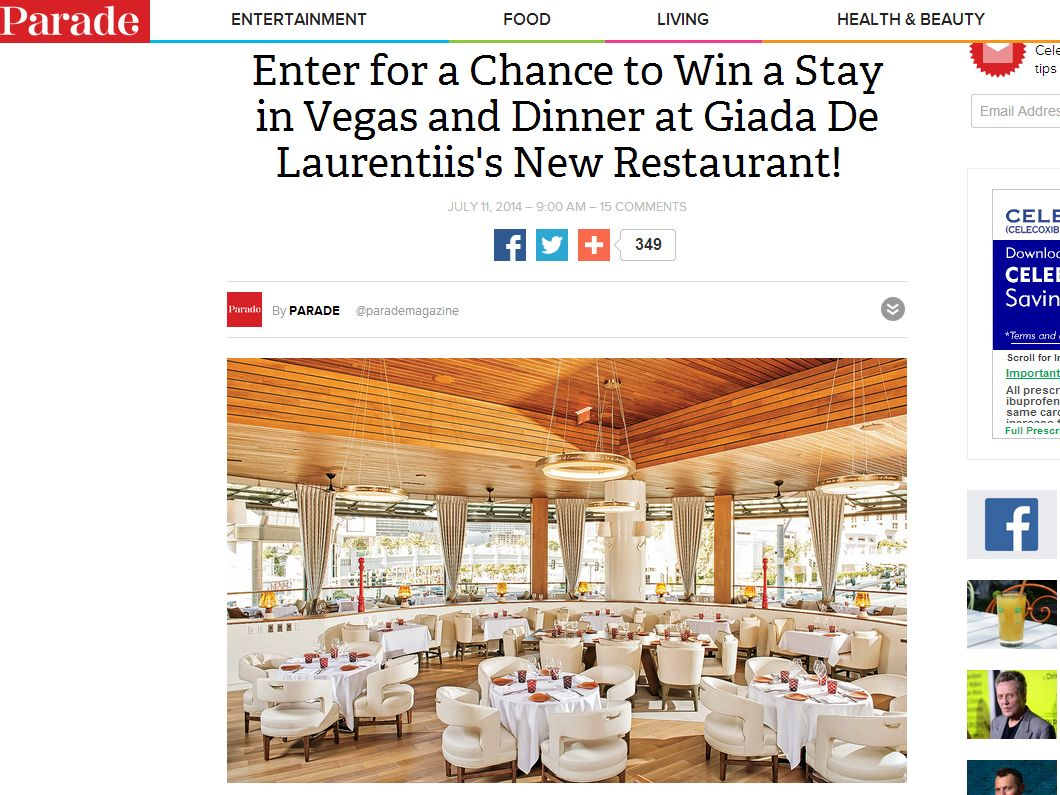 Giada de Laurentiis Restaurant Sweepstakes