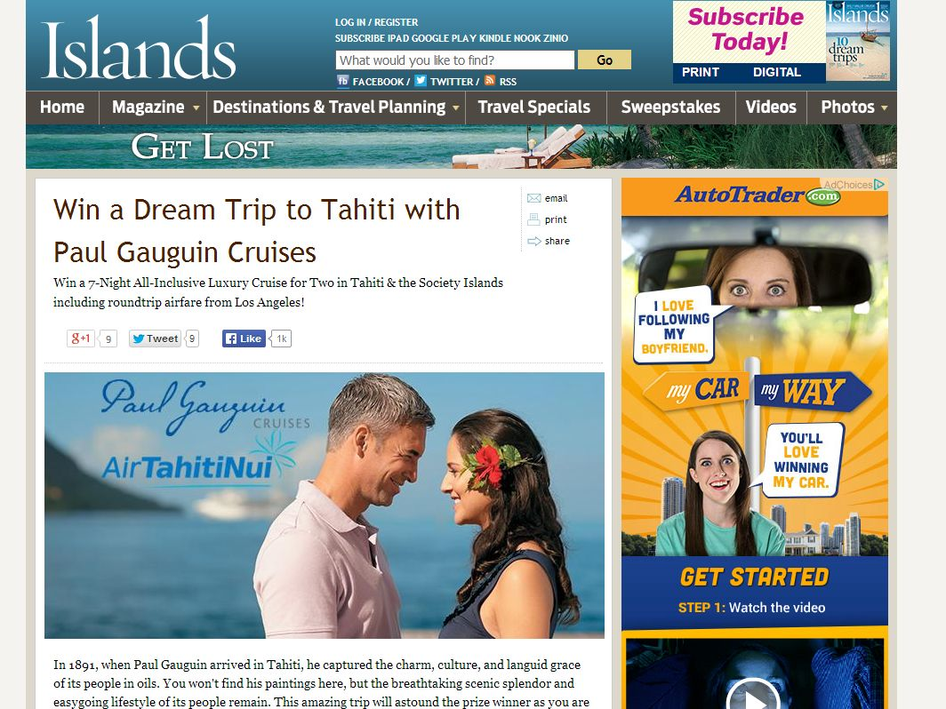 Win a Dream Trip to Tahiti with Paul Gauguin Cruises Contest