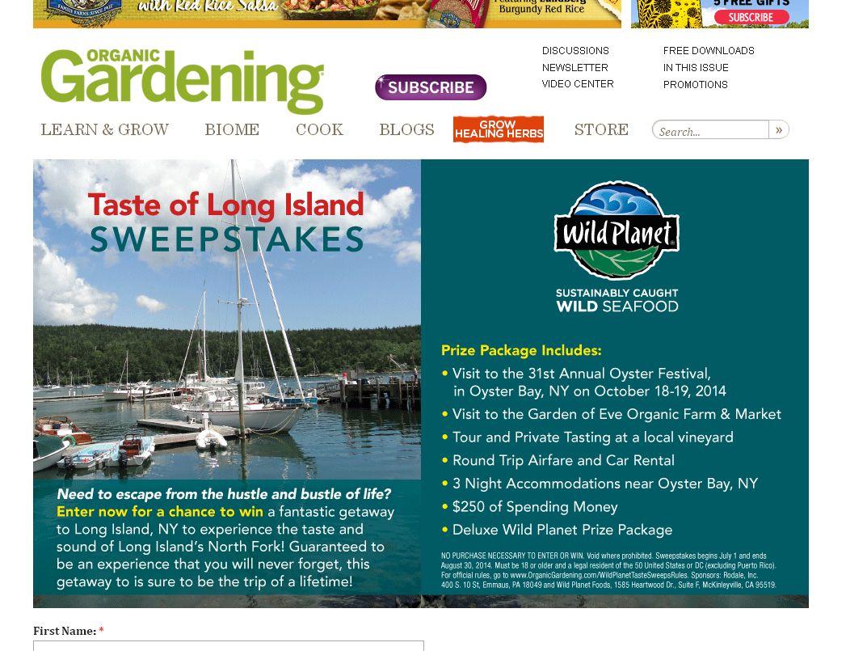 Organic Gardening Wild Planet Sweepstakes