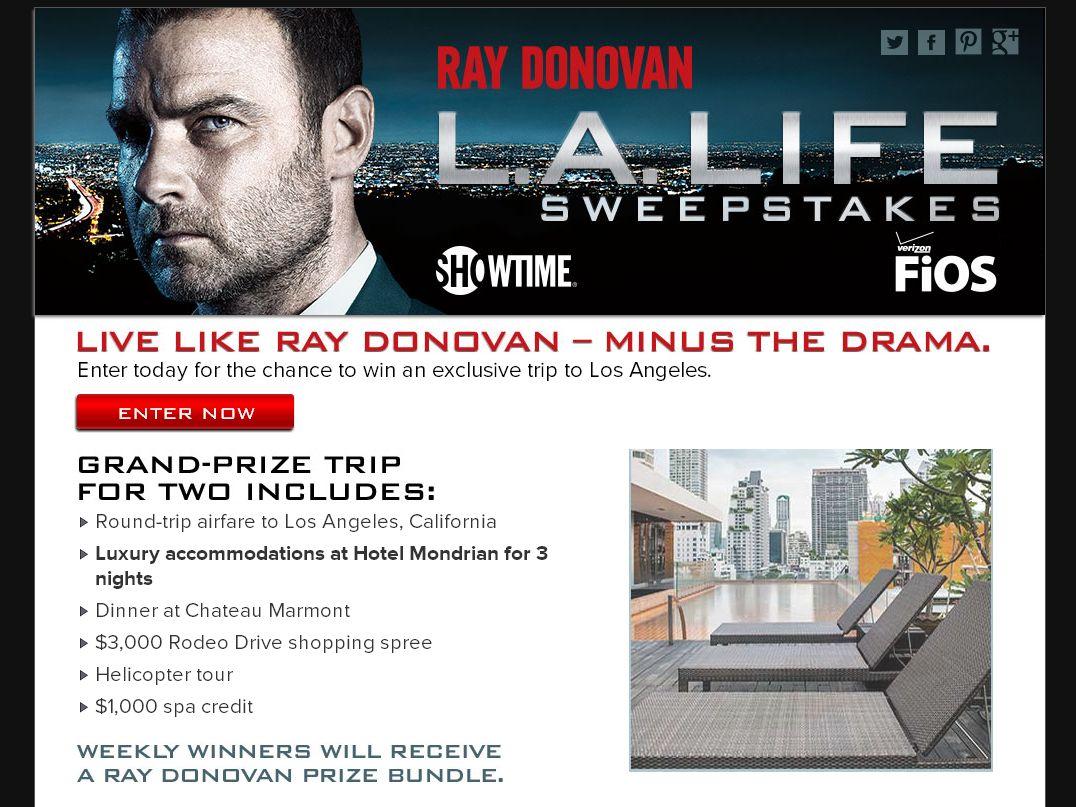 Ray Donovan L.A. Life Sweepstakes