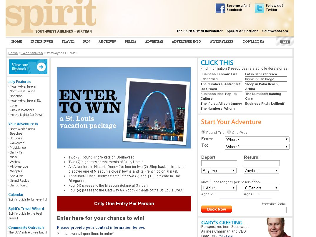 Southwest Airlines Spirit Sweepstakes