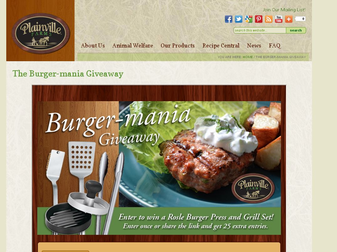 "Plainville Farms ""Burger-mania"" Giveaway"
