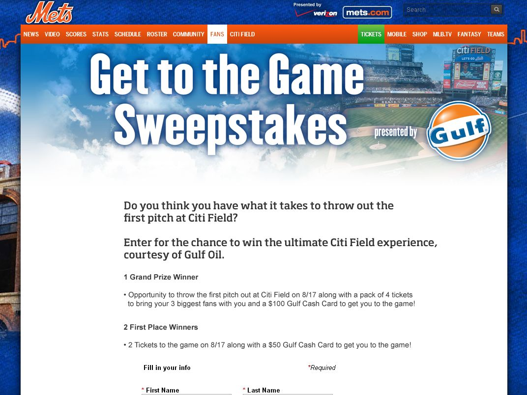 New York Mets the Get You to the Game Sweepstakes