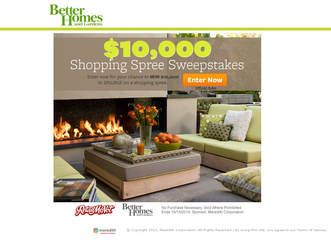 The Better Homes and Gardens $10,000 Shopping Spree Sweepstakes