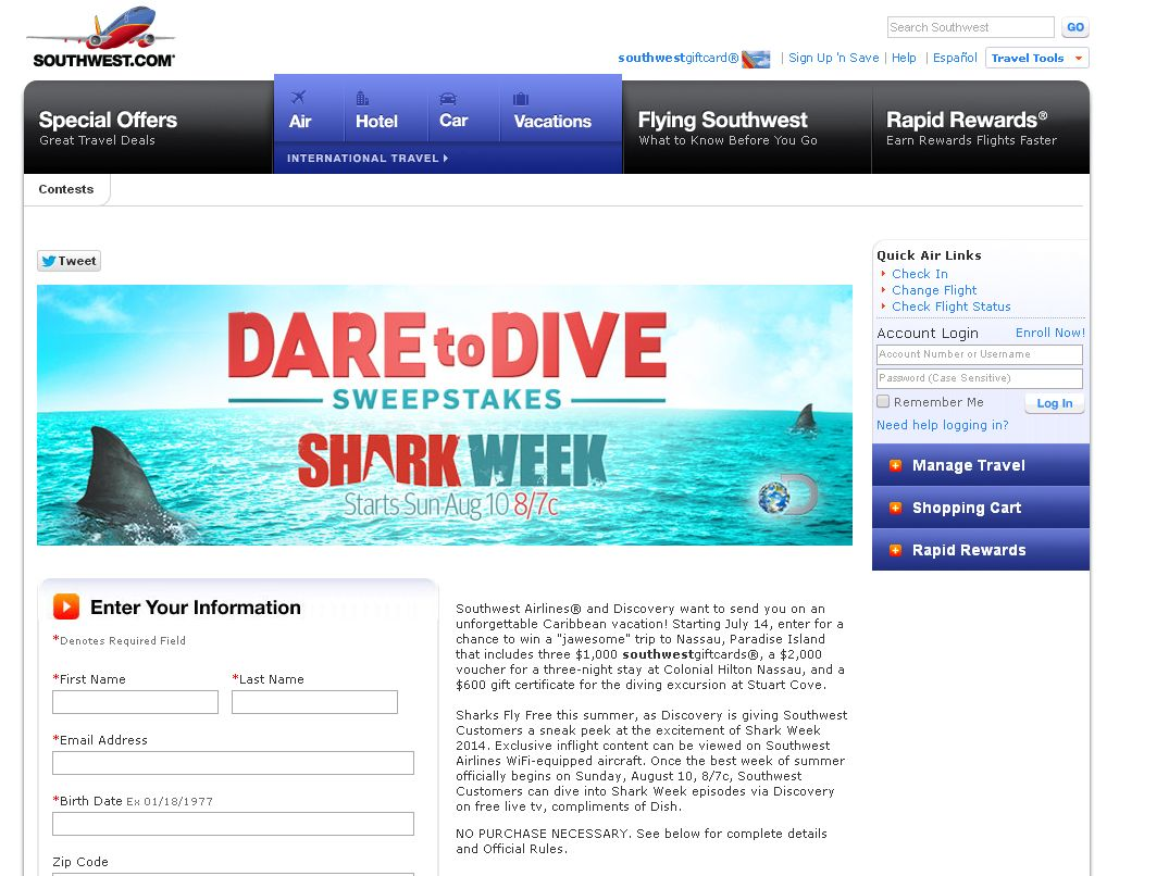"Southwest.com ""Dare to Dive"" Sweepstakes"