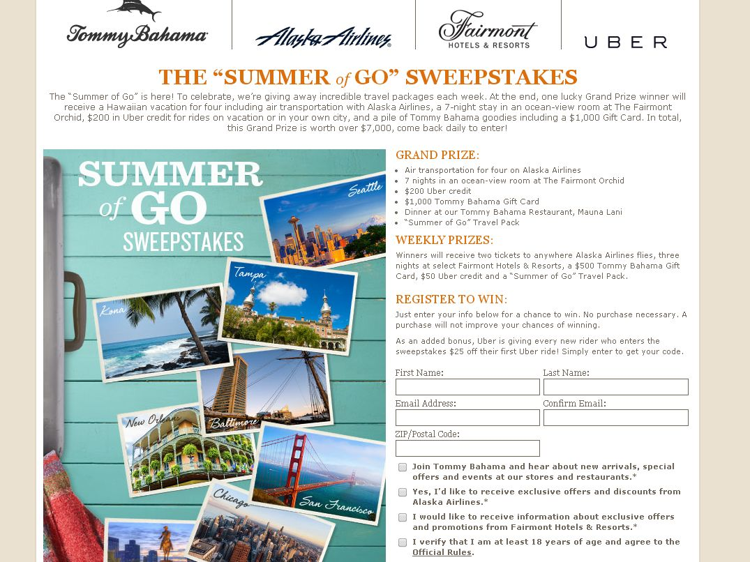 """Tommy Bahama """"Summer of Go"""" Sweepstakes"""