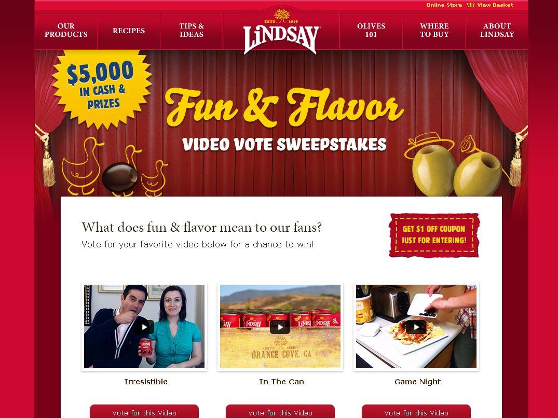 Lindsay Fun & Flavor $5,000 Cash & Prizes Sweepstakes