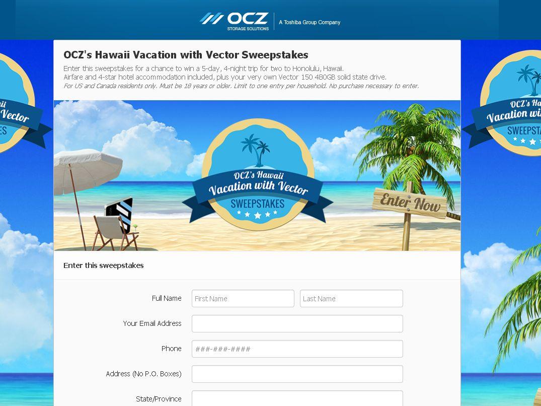 OCZ's Hawaii Vacation with Vector Sweepstakes