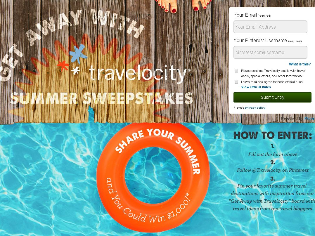 Get Away with Travelocity Summer Sweepstakes