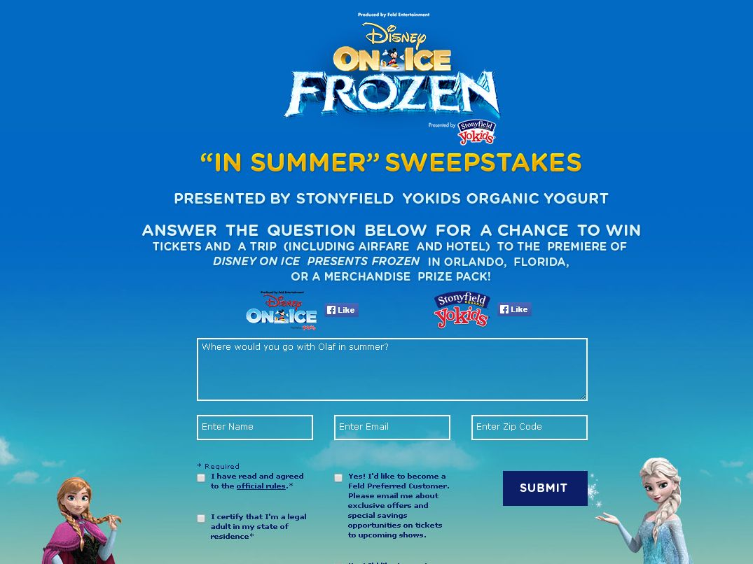 Disney on Ice presents Frozen Summer Sweepstakes