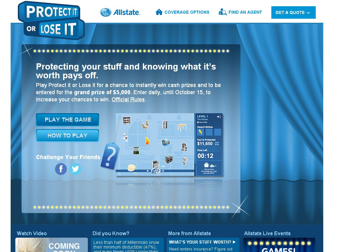 """Allstate """"Protect it or Lose it"""" Sweepstakes"""