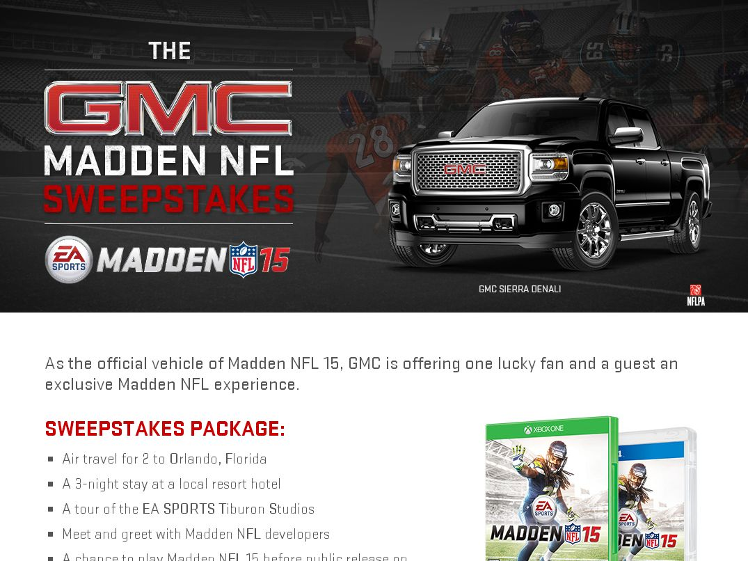 GMC Madden NFL Sweepstakes