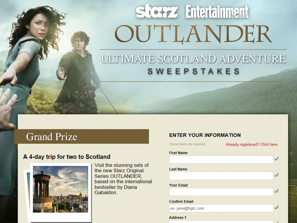 "Entertainment Weekly's ""Outlander Ultimate Scotland Adventure"" Sweepstakes"