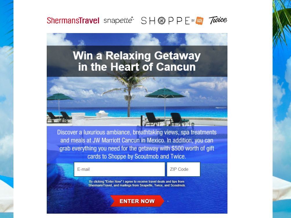 Shermans Travel Win a Relaxing Getaway to the Heart of Cancun Sweepstakes