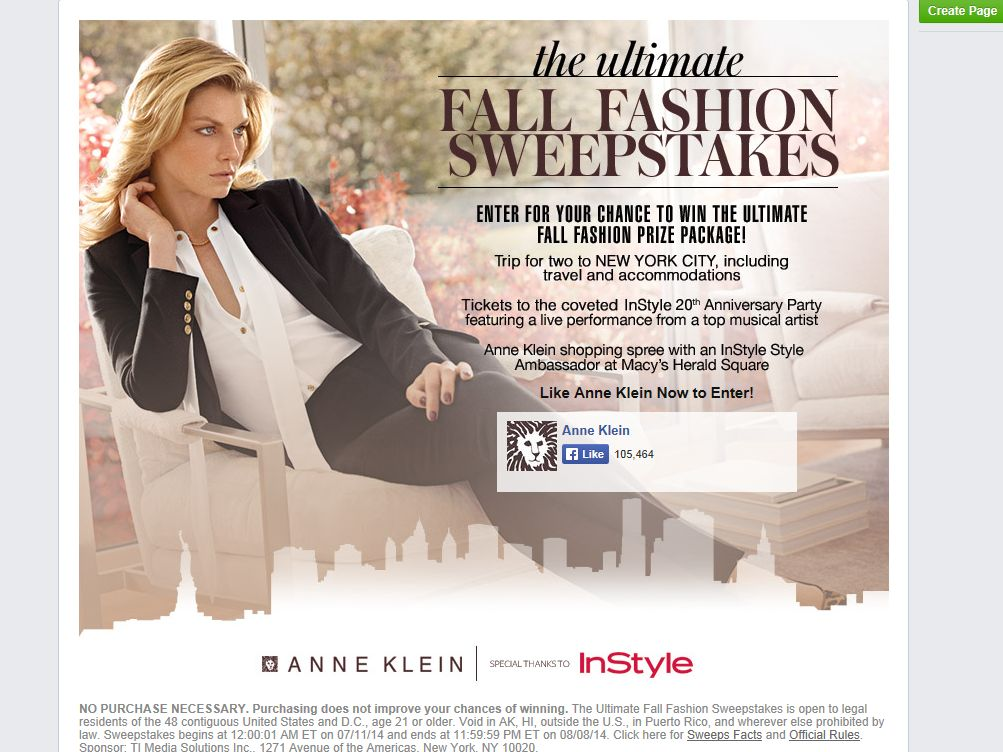 Anne Klein Ultimate Fall Fashion Sweepstakes