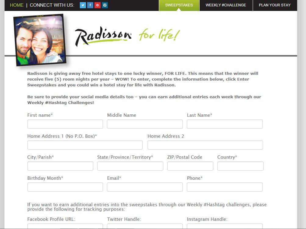 Radisson for Life Sweepstakes
