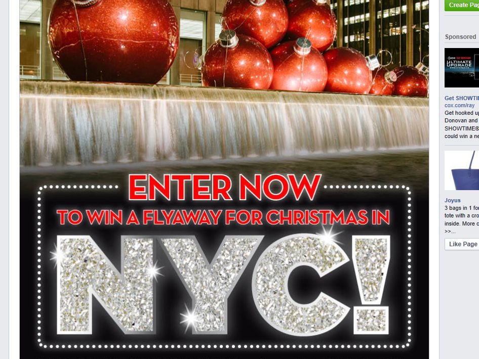 2014 Broadway in Cincinnati Christmas in NYC Sweepstakes