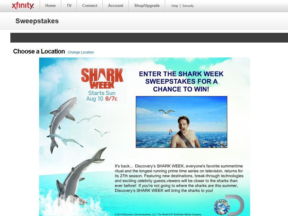 Xfinity Shark Week Sweepstakes