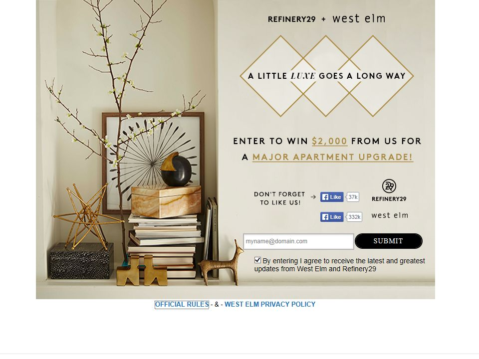 West Elm + Refinery29 Sweepstakes