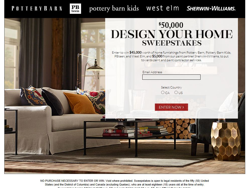 Pottery Barn $50K Design Your Home Sweepstakes