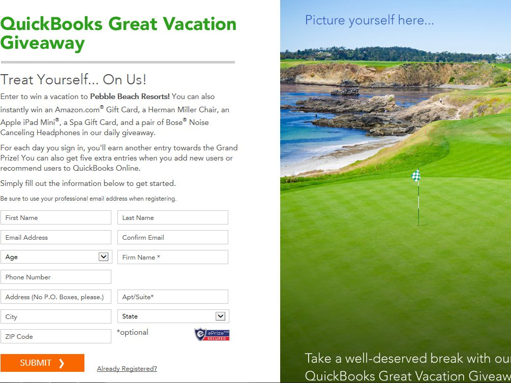 QuickBooks Great Vacation Giveaway