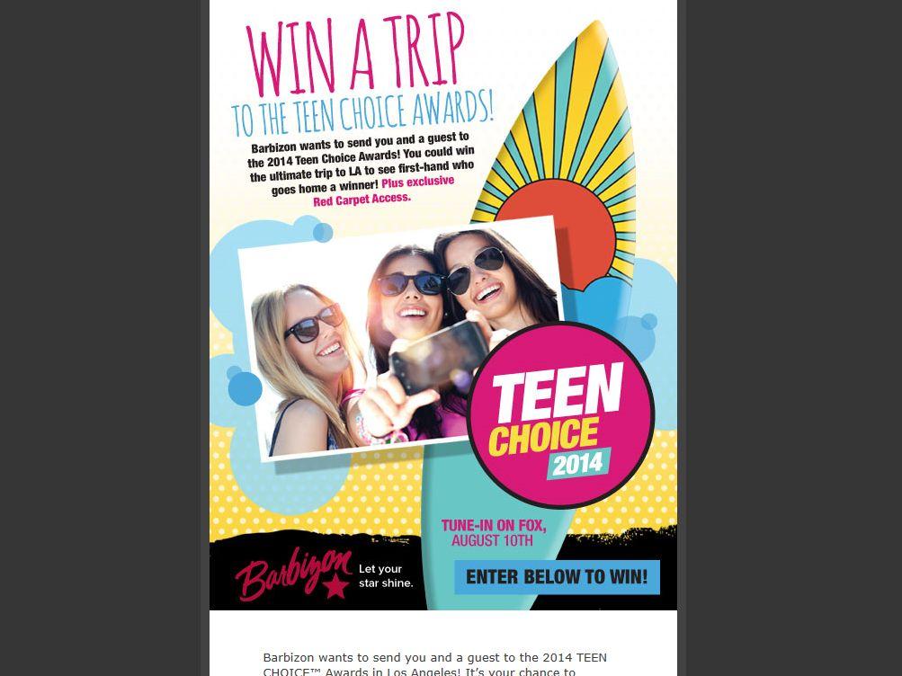 Barbizon Modeling & Acting Teens Choice Awards Sweepstakes