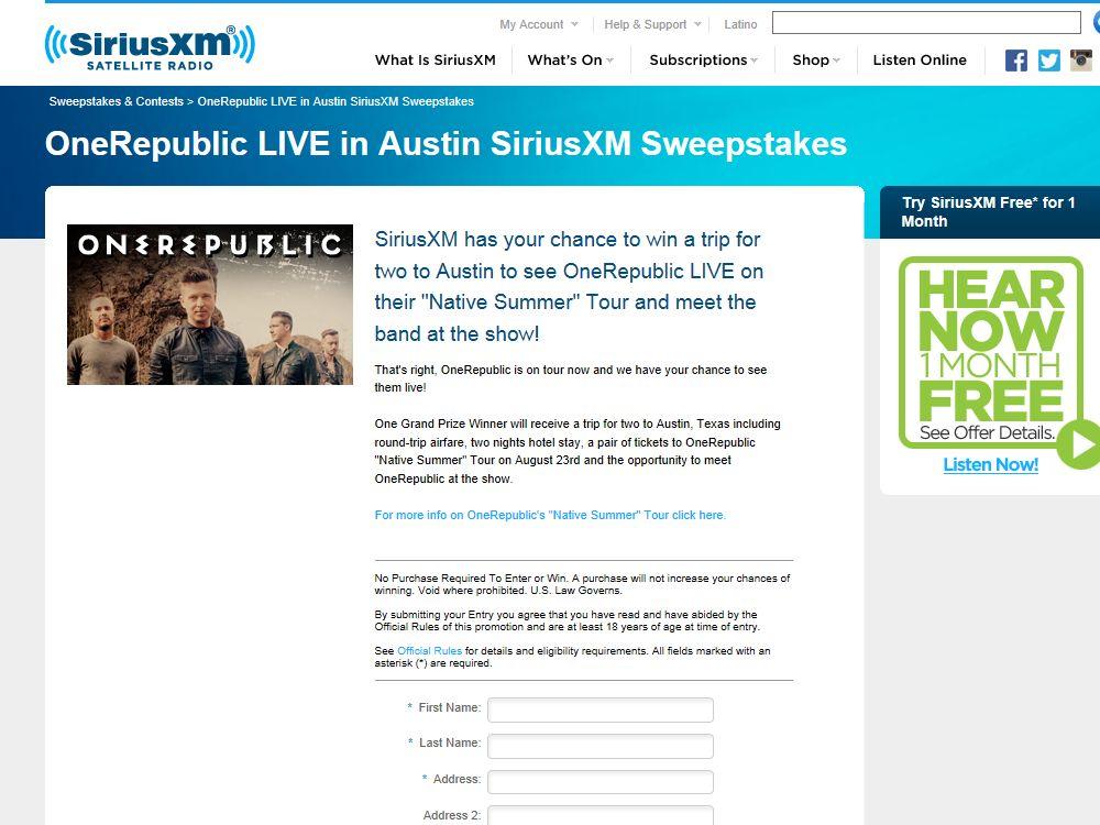 OneRepublic LIVE in Austin, TexasSweepstakes