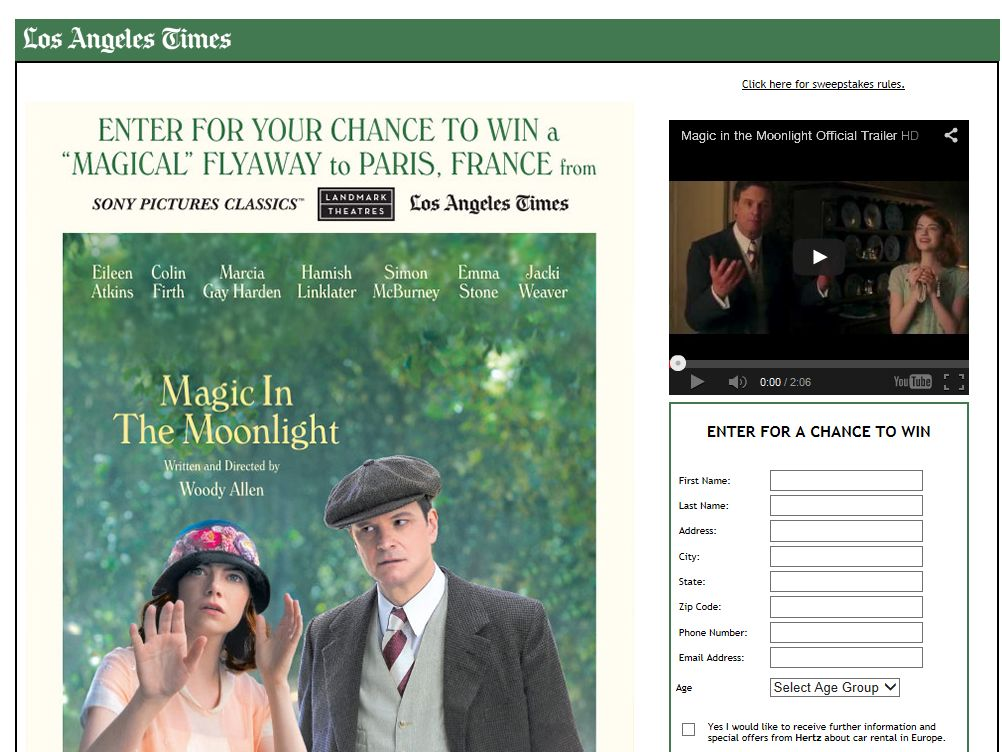 Los Angeles Times Magic In The Moonlight Flyaway Sweepstakes