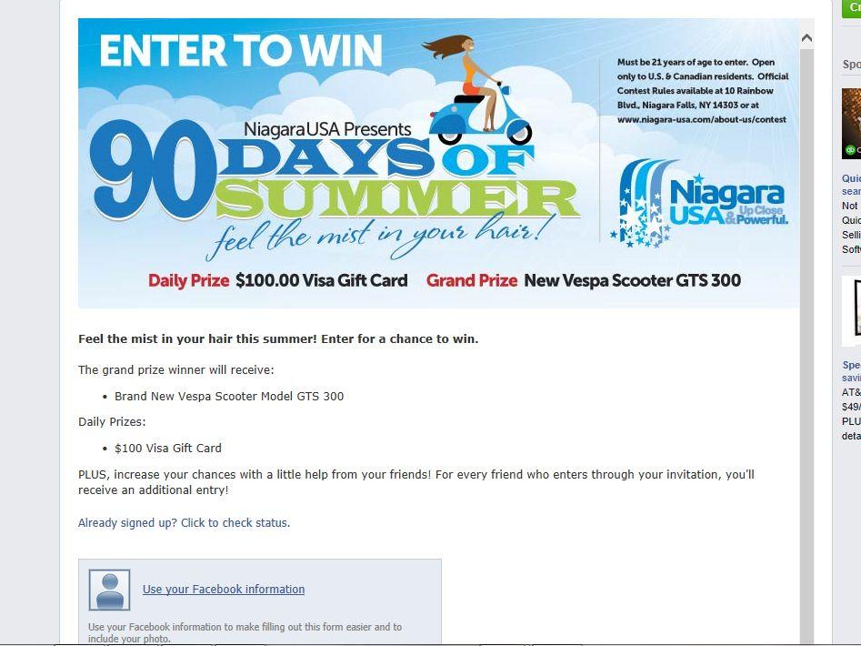 Niagara USA Presents 90 Days of Summer Sweepstakes