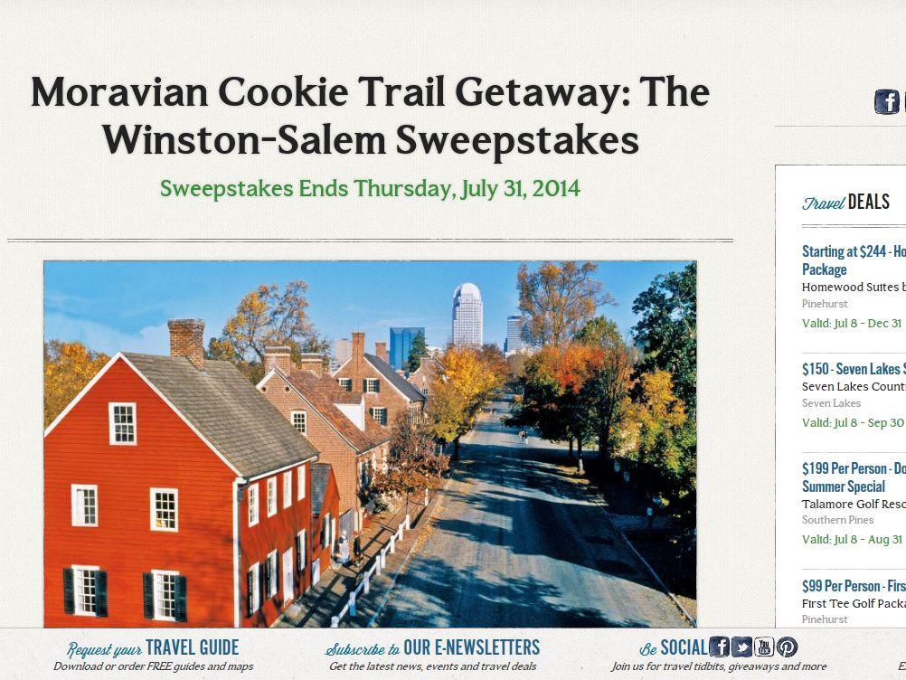 VisitNC.com Moravian Cookie Trail Getaway: The Winston-Salem Sweepstakes