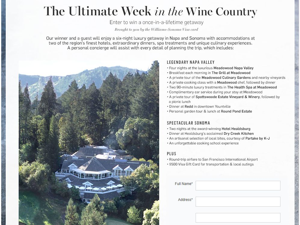 Williams-Sonoma The Ultimate Week in the Wine Country Sweepstakes