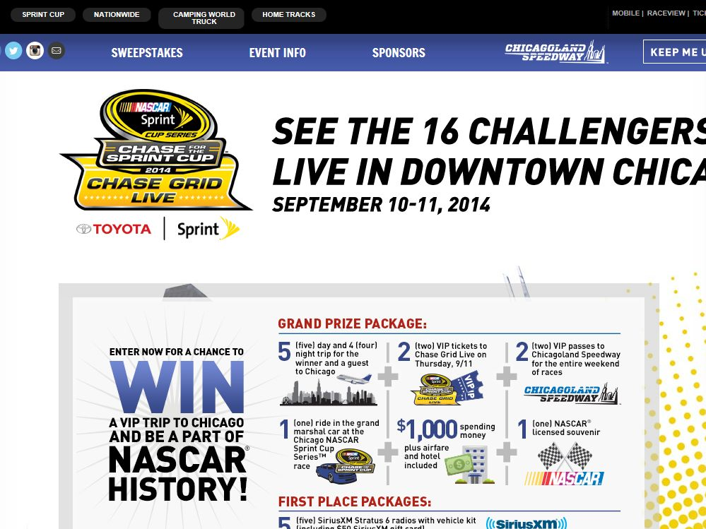 Chase Grid Live Sweepstakes