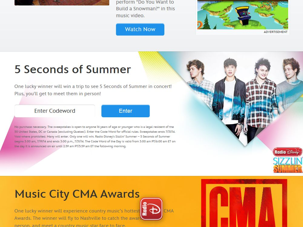 Radio Disney 5 Seconds of Summer Sweepstakes