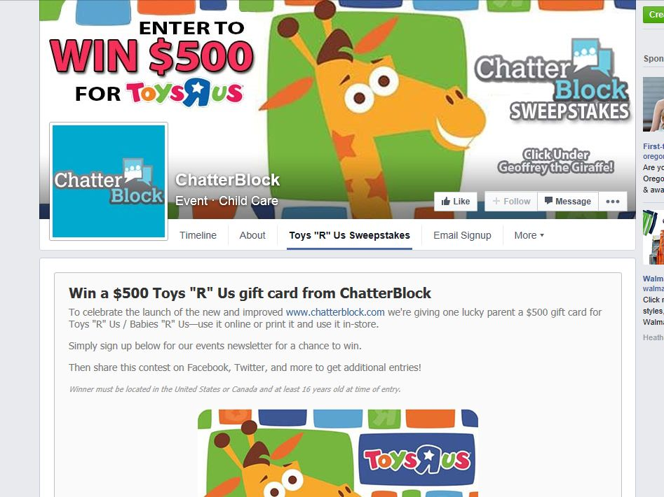 "ChatterBlock Win a $500 Toys ""R"" Us Gift Card Sweepstakes"