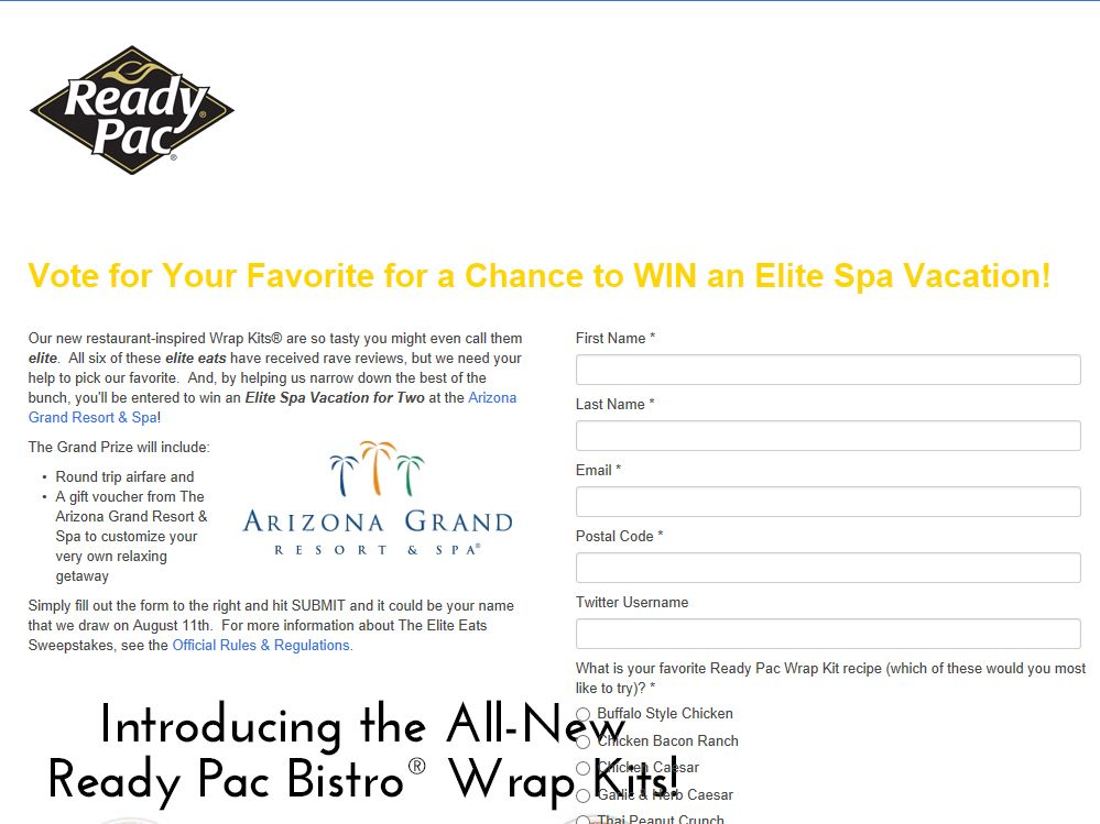 Ready Pac Elite Eats Sweepstakes