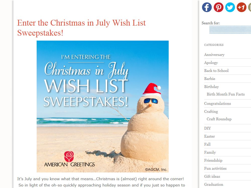 "American Greetings ""Christmas in July Wish List"" Sweepstakes"