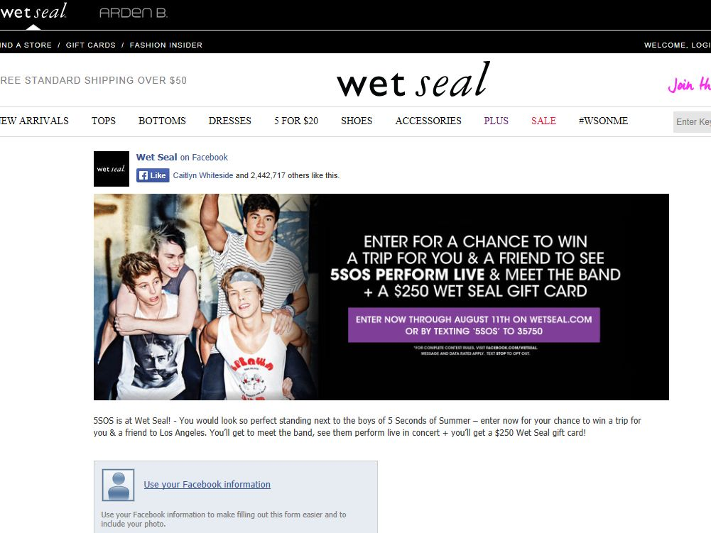 Wet Seal 5 Seconds of Summer Sweepstakes